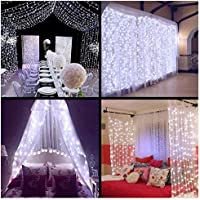 Ollny LED Window Curtain String Lights Icicle Fairy Lights for Wedding Xmas Christmas Outdoor Home Party Decorations White Lights 300 LEDs 3m*3m(Low Voltage)