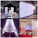 LED Curtain Lights Window Curtain Fairy Lights Ollny Icicle String Lights for Wedding Xmas Christmas Outdoor Party Decorations 306 LEDs 3m*3m White