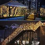 BLOOMWIN Tenda Luminosa 8 modalità 6V a Bassa Tensione 6M * 1M 300 LEDs Sicuri e Romatici Luci Stringa con Ganci per Natale Finestra Anniversario Casa Giardino Bianco Caldo