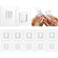 ZZ ZONEX PVC Double-Sided Adhesive Heavy Duty Waterproof and Oil-Proof Wall Hooks (Transparent, 6.6lb, 3kg Max) Set of…