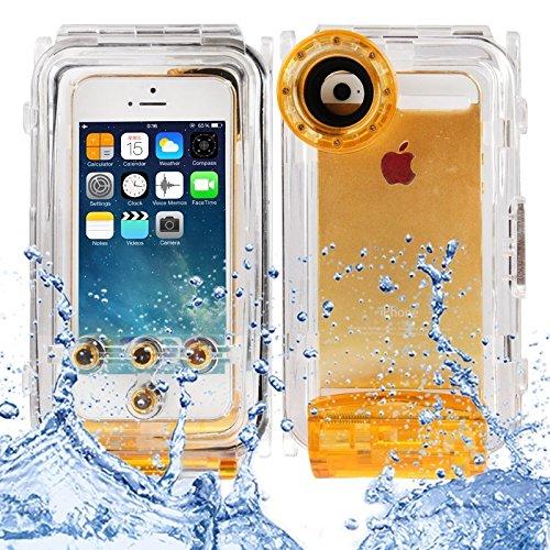 Wkae Case Cover Wasserdicht Foto Gehäuse-Unterwassergehäuse für iPhone 5 &5s &SE, Wasserdicht: IPX8 ( Color : Black ) Orange