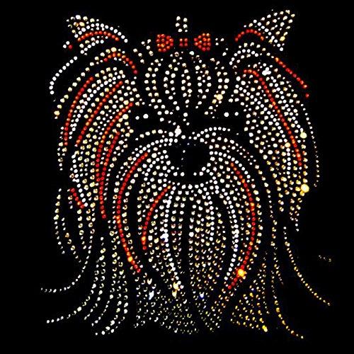V-Neck LangarmShirt Yorkshire Terrier dunkel Strass kristall grosser Hundekopf longsleeve Shirt Schwarz