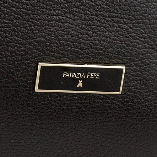 Patrizia Pepe Borsa Schultertasche Leder 32 cm nero\\shiny bronze