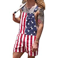Unisex Shorts Dungarees Bib and Braces Overalls USA Flag Printed Playsuit Couples Wear Slim Fit Jumpsuit