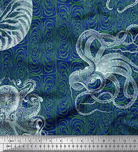 Blaue Seide Shell (Soimoi Blau Seide Stoff Tierhaut, Shell & Krake Ozean Stoff drucken Meter 42 Zoll breit)