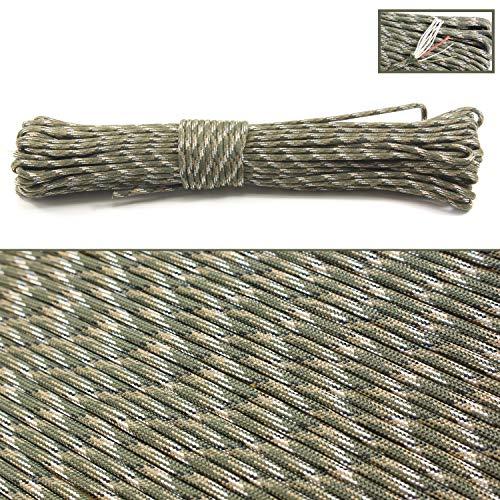 PSKOOK 550 Paracord Überleben Cord Paracord Fire Cord Survival Feuerstarter Cord Gewachst Jute Zunder +Angelschnur 7(100% Nylon Seil)+4 (Zunder, PE, Nylon, Baumwollschnur) - 30M (Armeegrün Camo)