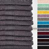 Lumaland Premium 10 Set Serviette d´invité/Mains/mouffle 30 x 50 cm 100% Coton 500 g/m² avec Ruban à accrocher.Gris