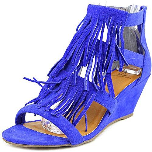 Material Girl Hannah Damen Faux Wildleder Keilabsätze Sandale Cobalt