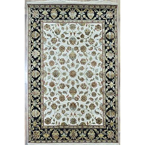 Splendid Indian Art lana de colores hechos a mano-marfil negro área de alfombra persa alfombra