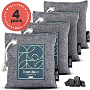 Bamboo Charcoal Air Purifying Bag 4-Pack – Naturally Freshen Air with Powerful Activated Charcoal Bags Odor Ab