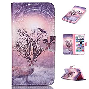 "IPhone 6 Case,iphone 6S Case Leather,Creative case PU Leather Wallet Flip Case,""MOONESS""[stand feature] [Card Slots] [Magnetic Closure] Case Cover for iPhone 6/6S 4.7 inch (Mi-lu)"