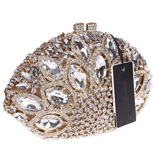 Santimon Clutch Delle Donne Grande Diamante Borse Da Festa di Nozze Sera A Forma Di Conchiglia Di Mare Strass Diamante Cristallo Con Tracolla Amovibile 4 Colori oro