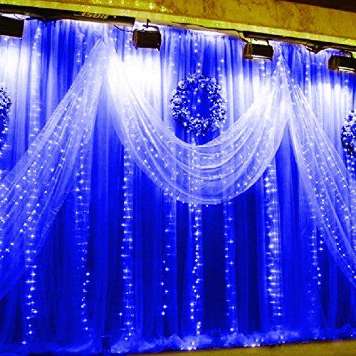 Luci della tenda,Isightguard 3 M x 3 M 300 LED Fata String luci ghiacciolo luce (Blu Icicle)