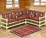 Spirit Home Interiors Arabische Majlis-Sitzgruppe, Ecksofa für Wohnzimmer, Terrassenmöbel, Sofa für Musikhochschulen, orientalische Möbel mit Kelim-Teppich, orientalische sitzecke