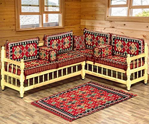 Spirit home interiors - divano angolare majlis in stile arabo, per salotto, terrazza, divano-scuola musicale, mobili orientali con tappeto kimim