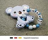 Baby Silikon Greifling Beißring mit Namen | individueller Beißanhänger als...