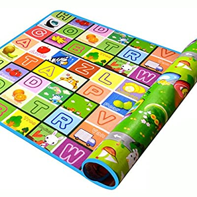 SIMPVALE Double-sided Foam Waterproof Baby Crawling Thickening Mat Drawing Alphabet Figures Animals Pattern 180cm x 120cm x0.5cm