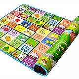 SIMPVALE - Tappeto di gioco per neonati e bambini piccoli, in schiuma spessa, motivo: alfabeto e cifre con disegni di animali, 180cm x 120cm x 0.5cm