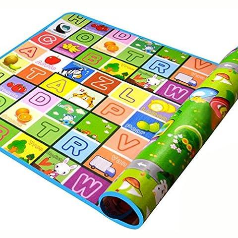 SIMPVALE Tapis Mousse Epais Tapis de Jeu Jouet Epais Tapis D'éveil pour Bébé Enfant Bas Age Motif Dessin Alphabet Chiffres Animaux 180*120*0.5cm
