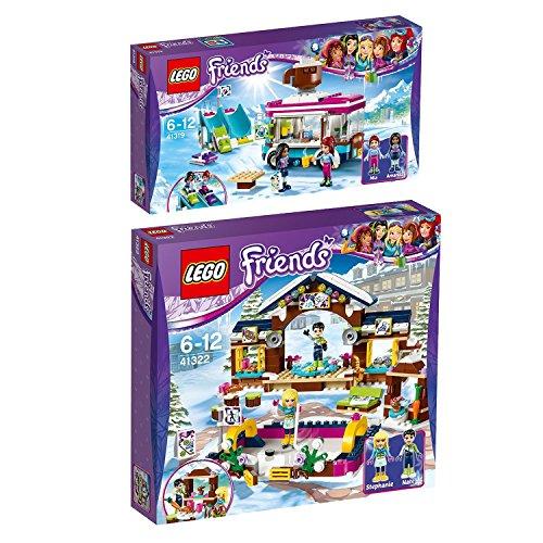Lego Friends 2er Set 41319 41322 Kakaowagen am Wintersportort + Eislaufplatz im Wintersportort