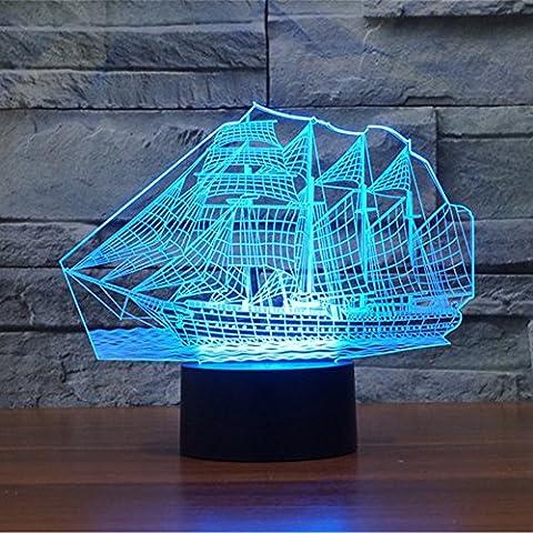 Sailing Boat Marine Ship 3D Lamp Illusion Optical Night Light