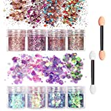 8 colori assortiti Set di polvere glitter per unghie 20 Ombretto in spugna,lustrini 3D per manicure, nail art, ricostruzione unghie, make up
