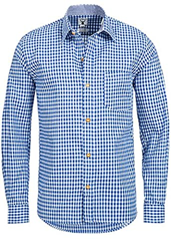 Trachtenhemd kariert in 6 verschiedenen Farben - Slimline - Krempelärmel (S, Jeans - Blau)