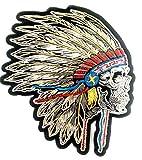 Bügel Iron on Indianer Skull Patch-Aufnäher-Applikation-Patches-Sticker-ei groß Jeans-Jacke-n Indianer Skull Totenkopf 24 x23 cm