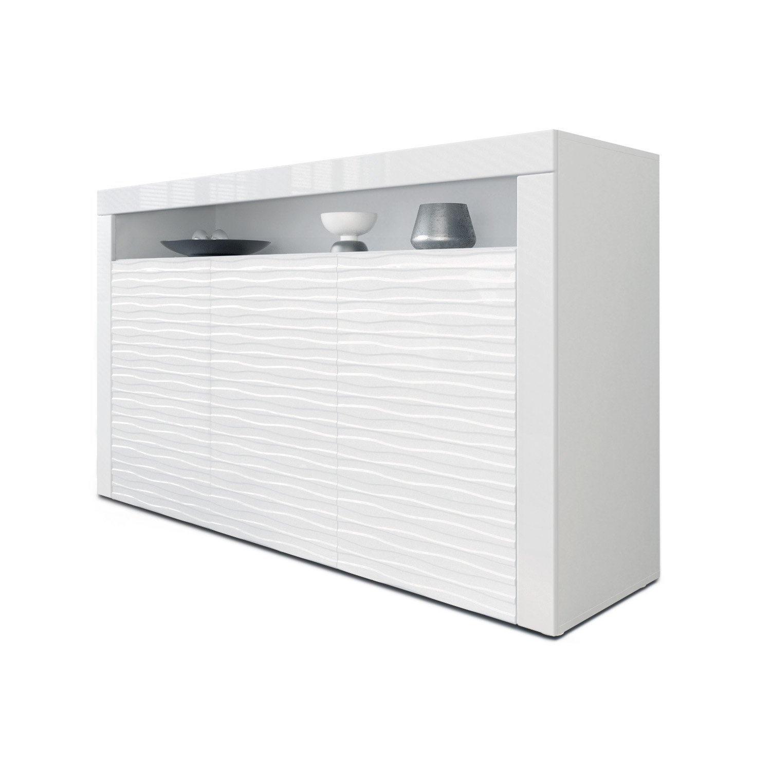 Sideboard Cabinet Valencia Carcass In White Matt Front In White  # Vladon Meuble Tv