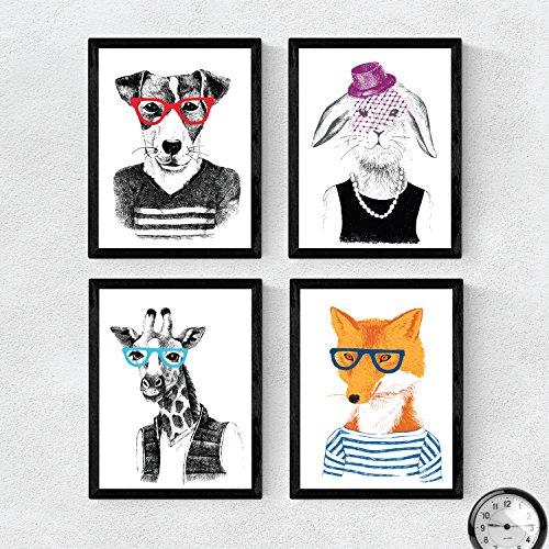 Set de cuatro láminas ANIMALES ILUSTRADOS. Pack de cuatro poster para enmarcar con ilustraciones de animales. Regalo para los amigos de los animales y los amantes del mundo natural. Decoracion del hogar. Papel 250 gramos alta calidad. Nacnic