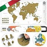 #benehacks Planisfero Mondo da grattare Poster Mappa del Mondo in Italiano – Cartina geografica da Utilizzare Come diario da Viaggio – Cartina Mondo – Oro/Bianco 84 x 44 cm
