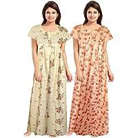Afreet Fashion Women Soft Cotton Nightwear Gown Nighties Sleepwear Maxi Dress (Multicolor) Combo of 2 Peice