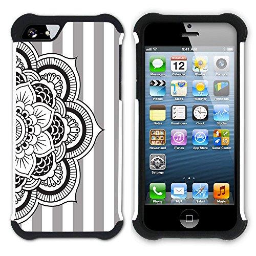 Graphic4You Mandala Blume Streifenmuster (Wasserblau) Hart + Weiche Kratzfeste Hülle Case Schale Tasche Schutzhülle für Apple iPhone SE / 5 / 5S Grau