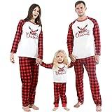 ESHOO Christmas Family Pajamas Matching Sets Cotton Sleepwear for Dad Mom Baby Kids
