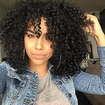 S-noilite® 100% Lace Front Wigs Deep Curly Synthetic Hair Natural Black Wigs Daily Cosplay Party by S-noilite®