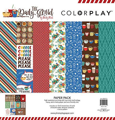 "Photoplay Paper ColorPlay Collection Pack 12""X12""-Daily Grind, 6 Designs/2 Each + Bonus"