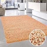 carpet city Shaggy Pastell Teppich Hochflor Langflor Einfarbig/Uni in Pastell-Orange, Soft-Lachsrot aus Polypropylen für Wohn-Schlafzimmer, Größe: 160x160 cm Rund