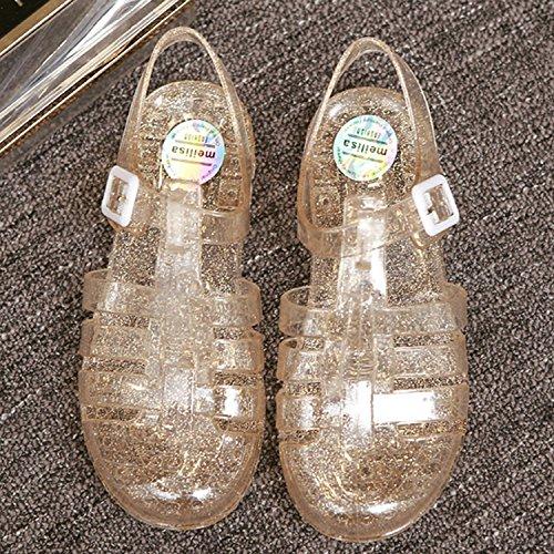 Azbro Women's Fashion Buckle Flat Jelly Sandals Silver