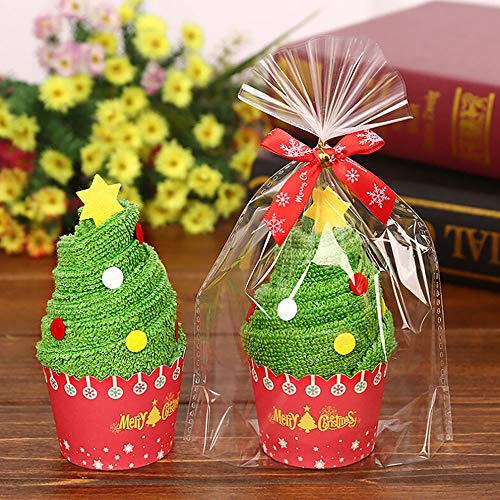 LoveLeiter 2 Stück Weihnachten Handtücher Kuchen Geschirrtuch, Mini Handtuch, Set, bestickte Weihnachtsmann Schneemann Bild Handtuch, Weihnachten kreative Geschenke für Kinder -