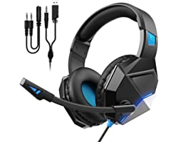 Gaming Headset for PS4, PS5, PC, Xbox One, Switch, Ultra Light Over Ear Headphone with Noise Cancelling Mic, PC Headset with