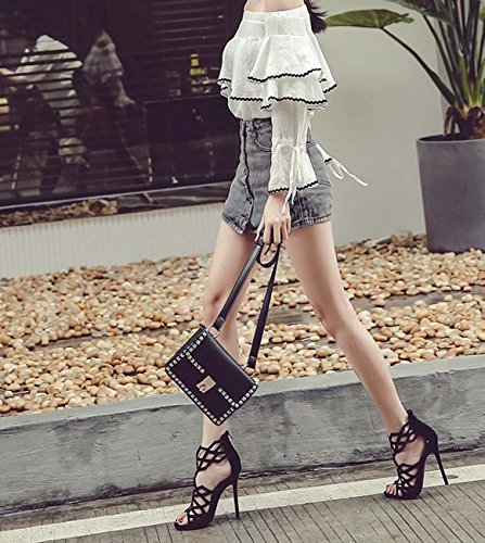 Ceinture de cheville Peep Toe Kitten Heel Hollow Zipper Casual Chaussures Stiletto Heel Wedding High Heels Black
