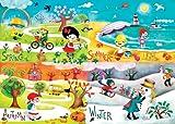 """Happy Spaces Leinwandbild, für Kinder, Motiv """"Jahreszeiten"""", Design von Gaia Marfurt, 70x50x2cm"""