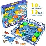 RenFox Sabbia da Gioco Sabbia Cinetica per Bambini Kit 1lb, 10 Stampi di Animali Marini & 3D Scatola, Non tossica per Bambini