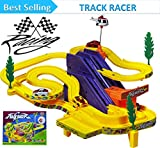 #9: Vivir Track Racer Racing Car Set With Rotating Helicopter Toys For Kids