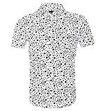 SOOPO Herren Kurzarm-Hemd mit Sternen-Muster in Absolut Bügelfreier Baumwoll-Qualität Weiß XXL