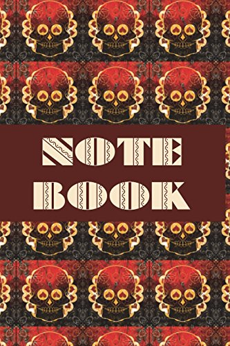 l - Day of The Dead - Composition Book .  Cornell Notes  - Fire Red Hearts Sugar Skull Tiled ()