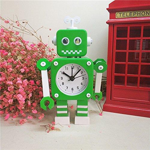 Ayzr Roboter Wecker Schöne Kreative Cartoon Metall Schlafzimmer Wohnzimmer Lounge, Grün