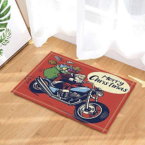 cdhbh Vintage xmas Decor Santa Claus auf Motorrad mit Geschenkverpackung Bad Teppiche rutschhemmend Fußmatte Boden Eingänge Innen vorne Fußmatte Kinder Badematte 39,9x 59,9cm Badezimmer Zubehör (Claus Santa Gummi)