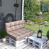 Farbvielfalt Palettensofa Palettenpolster Kissen Sofa Couch Polster Indoor Outdoor (Rückenkissen, Taupe-Grau)