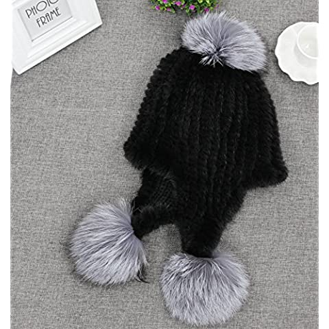 XMQC*La mujer de lujo real de invierno pieles de visón tricotado Fox Fur Sombreros Earmuff Pink